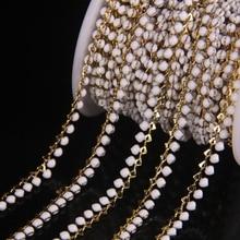 Nowy! Biały emalia zroszony Plated złota miedzi różaniec łańcuchy, Lampwork szkło rzemiosło Link łańcucha naszyjnik biżuteria Choker ustalenia luzem