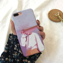 Phone Case for iPhone 7Plus 8 8Plus compatible apple iphone X XS 6 6Plus 6s 6sPlus cover unique frosted touch oil painting girl