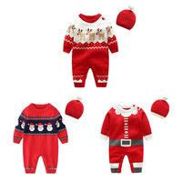 2019 orangemom newborn baby romper cute knitting jumpsuit + caps for girls baby christmas cotton clothes baby new year gift