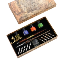 Vintage Dip Pens Fountain Writing Ink 10 Nibs Pen Holder Gift Box Calligraphy 103E