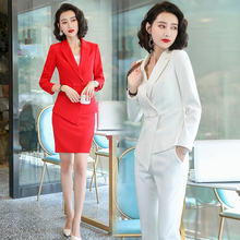 Autumn And Winter New White Professional Suit Work Clothes Hostess Lecturer Jewelry Beautician Fashion High End Pants