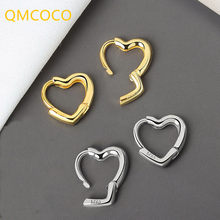 QMCOCO 925 Sterling SilverSimpleHeart Shape Small Stud Earrings Glamorous Women Fashion Jewelry Party Accessories