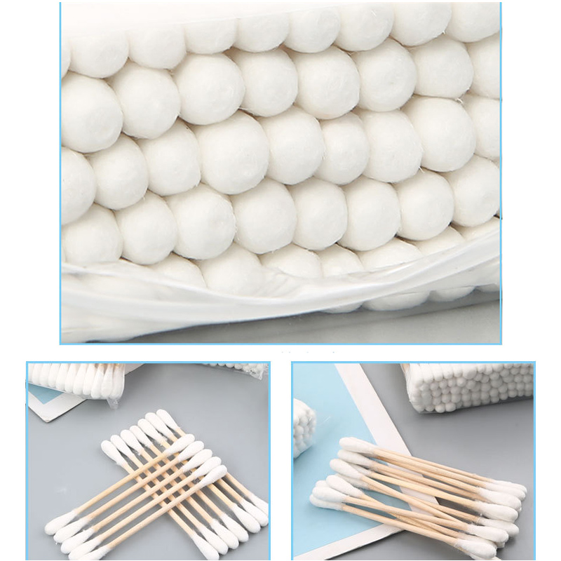 200Pcs Wooden Cotton Swabs Biodegradable Double Tipped Wood Cotton Buds For Makeup NIN668