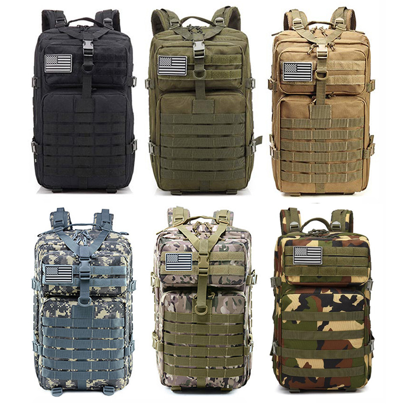 45L Large Capacity Men Army Tactical Backpacks Military Rucksack Outdoor 3P Molle Pack For Trekking Camping Climbing Hunting Bag