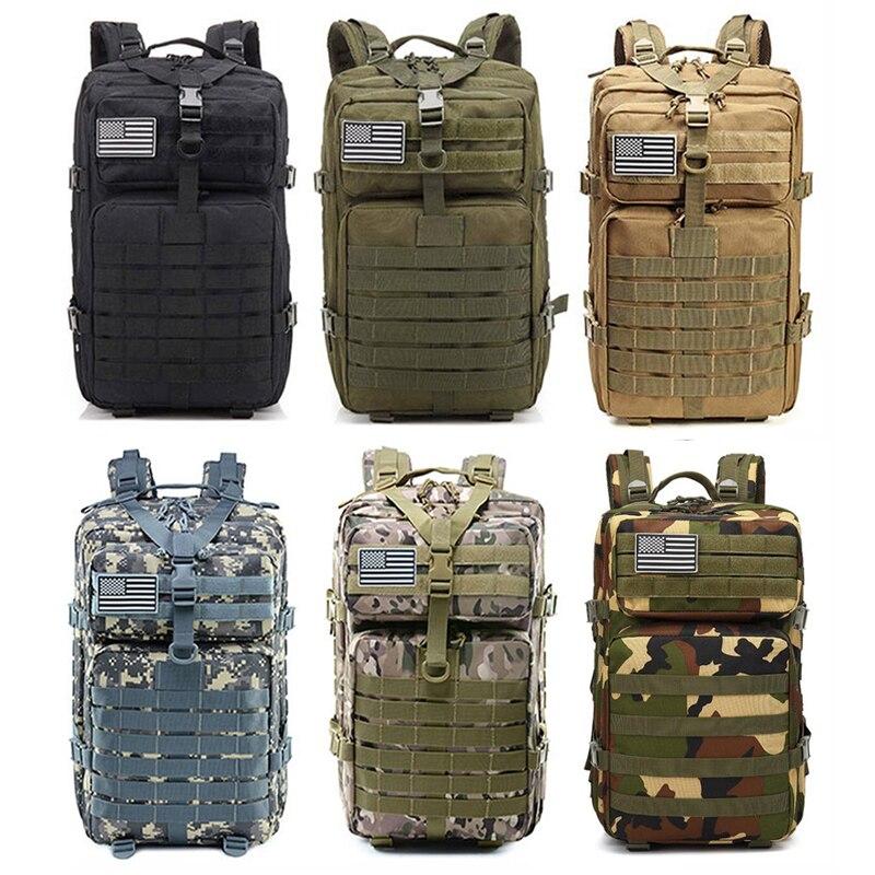 Spor ve Eğlence'ten Tırmanma Çantaları'de 45L büyük kapasiteli erkekler ordu taktik sırt çantaları askeri sırt çantası açık 3P Molle paketi Trekking kamp tırmanma av çanta title=