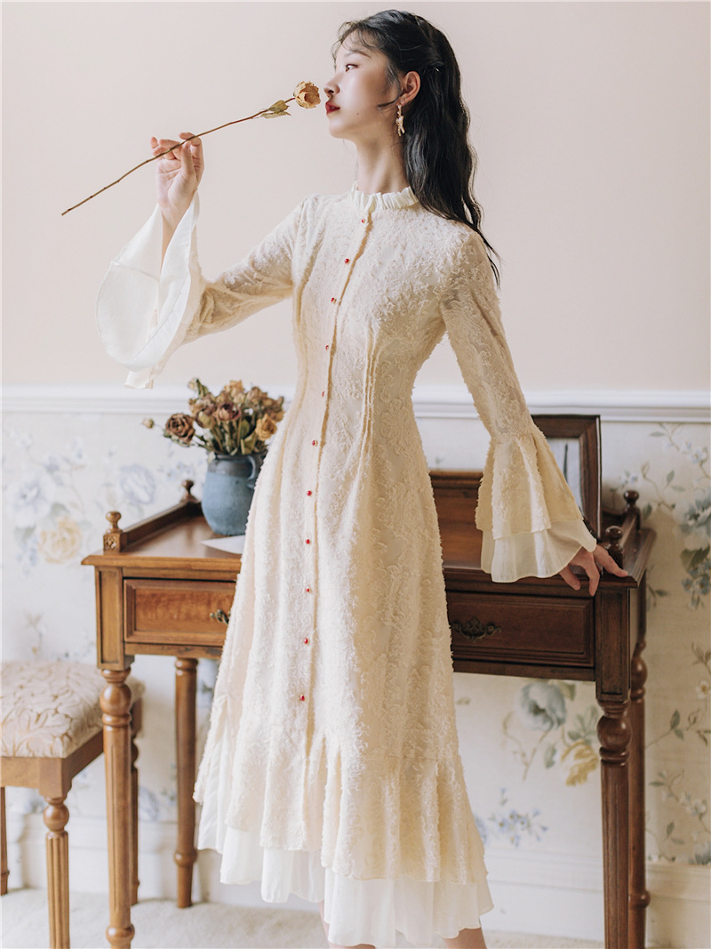 2020 New Fashion Women's Clothing Autumn And Winter Flare Sleeve  Stand  Vintage  Dress Women