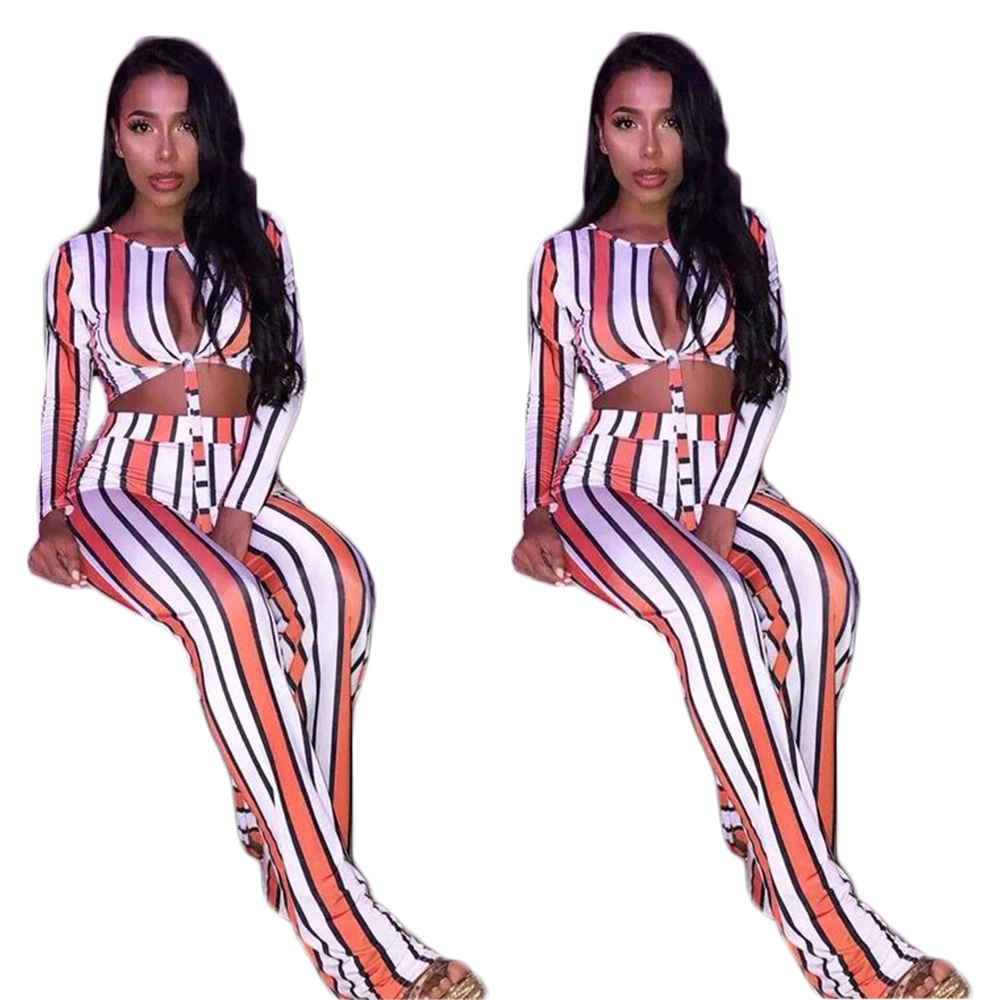 1045 Hot Selling AliExpress Amazon Europe And America WOMEN'S Dress Sexy Stripes Two-Piece Set