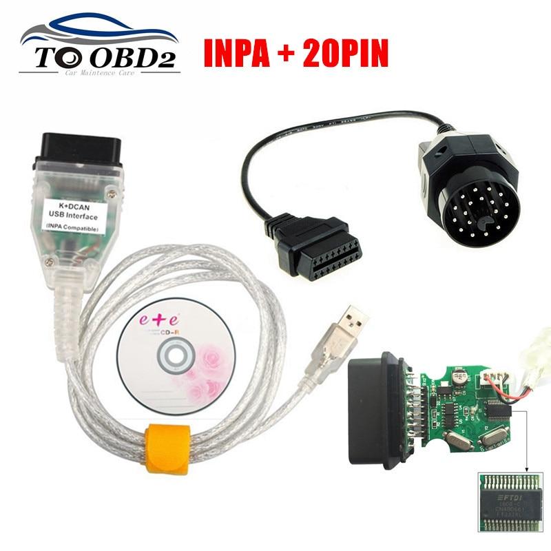 Новейший FTDI FT232RL для BMW INPA K + DCAN USB совместимый интерфейс K CAN для BMW серии INPA кулак BMW 20Pin OBD OBD2 считыватель кодов