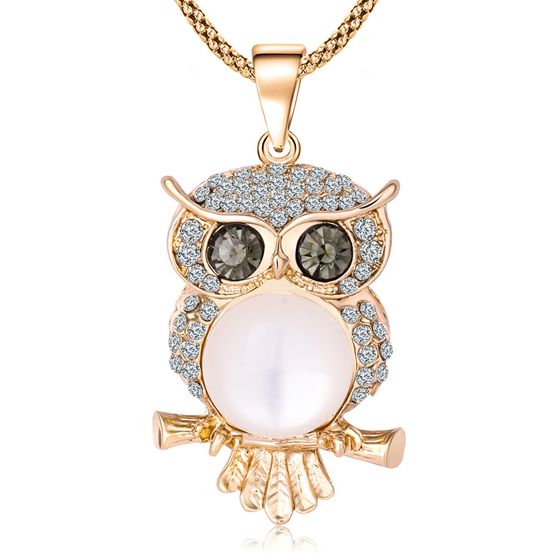 Retro Crystal Owl Pendant 925 Silver Necklace Fashion Sweater Chain Jewellery Handmade Lucky Amulet Gifts For Her Woman