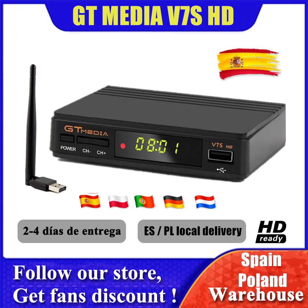 Hot DVB-S2 gtmedia V7S hd Satellite TV Receiver With USB WIFI upgrade by freesat v7s Tv Tuner Network Sharing no APP included