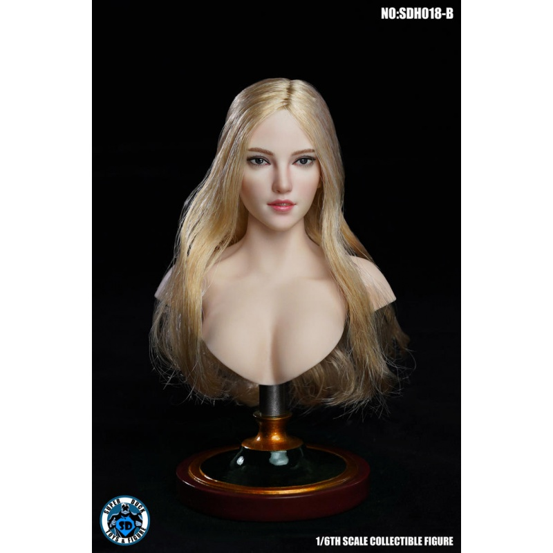 "1//6 Female Head Blonde Hair Sculpt PVC Sweet Girl Model Toy for 12/"" Action Body"