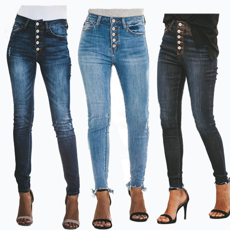High Waist Button Calca Jeans For Women Mom Jeans Ladies Plus Size Stretch Hole Jeans Boyfriend Jeans Denim Skinny Pencil Pants