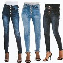 High Waist button calca jeans for Women mom Jeans Ladies plus size Stretch hole Jeans Boyfriend Jeans denim skinny pencil pants skinny button jeans