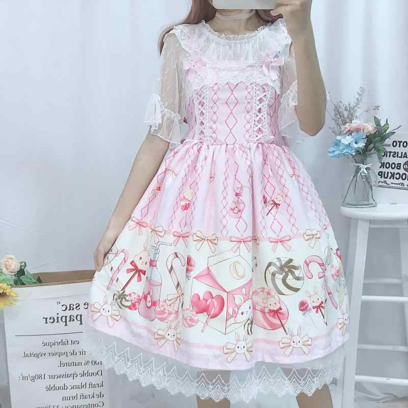 Summer JSK Sweet Lolita Slip Dress Ruffled Lolita cake sling falbala dress Cute candy dress and blouse