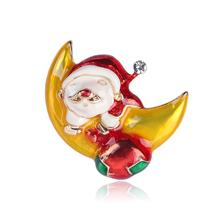 Christmas Brooches for Women Fashion Santa Claus Moon Brooch Pin Suit Dress Jewelry Accessories Gift