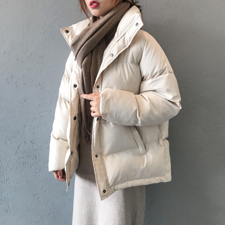 Модные женские парки с широкой талией, Осень зима 2019, новое свободное хлопковое пальто со стоячим воротником, плотное теплое одноцветное пальто для женщин
