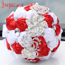 WifeLai-A Crystal Wedding Bouquet White Red Satin Emulation Rose Bridesmaid Holding Flowers Bridal Bouquets W228