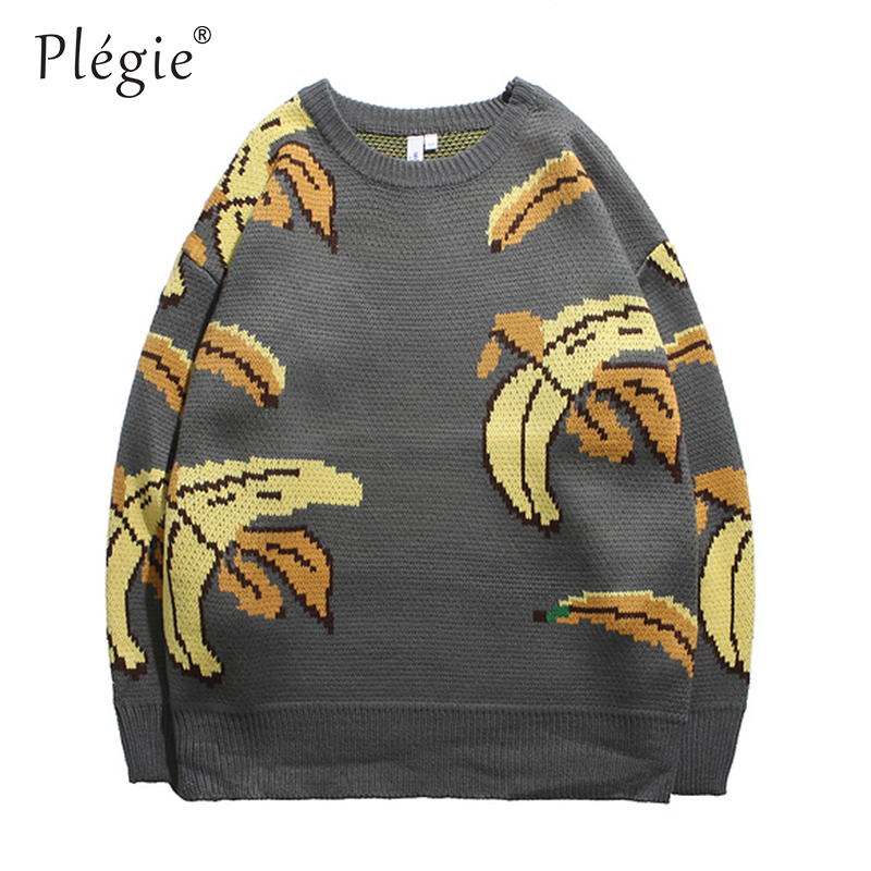 Plegie Sweaters Mens Pullover O-neck Streetwear Hip Hop Tree Knitted Autumn Winter Unisex Oversize Loose Sweaters Korean Style