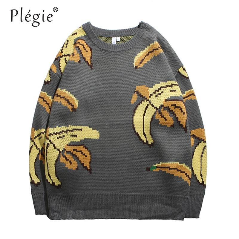 Plegie Sweaters Mens Pullover O-neck Streetwear Hip Hop Tree Knitted Autumn Winter Unisex Oversize Loose Sweaters Korean Style