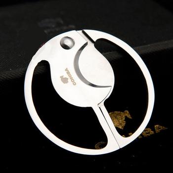 COHIBA okrągłe podwójne ostrza do cięcia cygar kieszeni gadżety ze stali nierdzewnej Zigarre nóż papierosowy kubański palenia gilotyna narzędzie 793 tanie i dobre opinie FLAME LOVER Stainless Steel