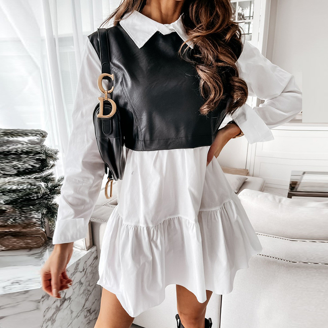 Women Plaid Dress Spring Fashion Long Sleeve PU Leather Patchwork Shirt Dress Turn-down Collar Office Lady Mini Dress Vestidos 4