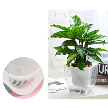4Pcs Square Transparent Self Watering Garden Planter Modern Flower Pot - White + Transparent G109