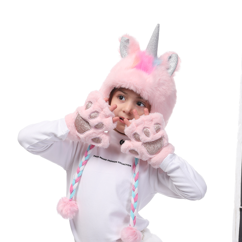 Unicorn Faux Fur Hoodie Hats For Girls Pink/White Warm Fingerless Plush Gloves Winter With Cat/Animal Paw Soft For Kids