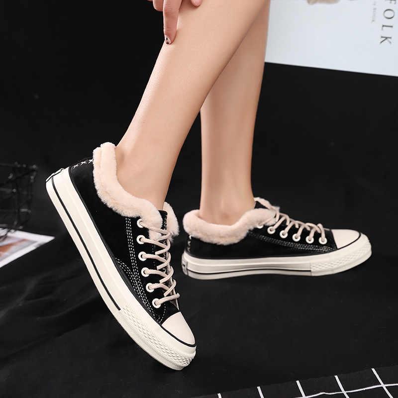 أحذية مفلكنة المرأة الشتاء جديد النسخة الكورية من الجلد المدبوغ شقة أسفل الأحذية عارضة المرأة زائد المخملية القطن Shoess S0220