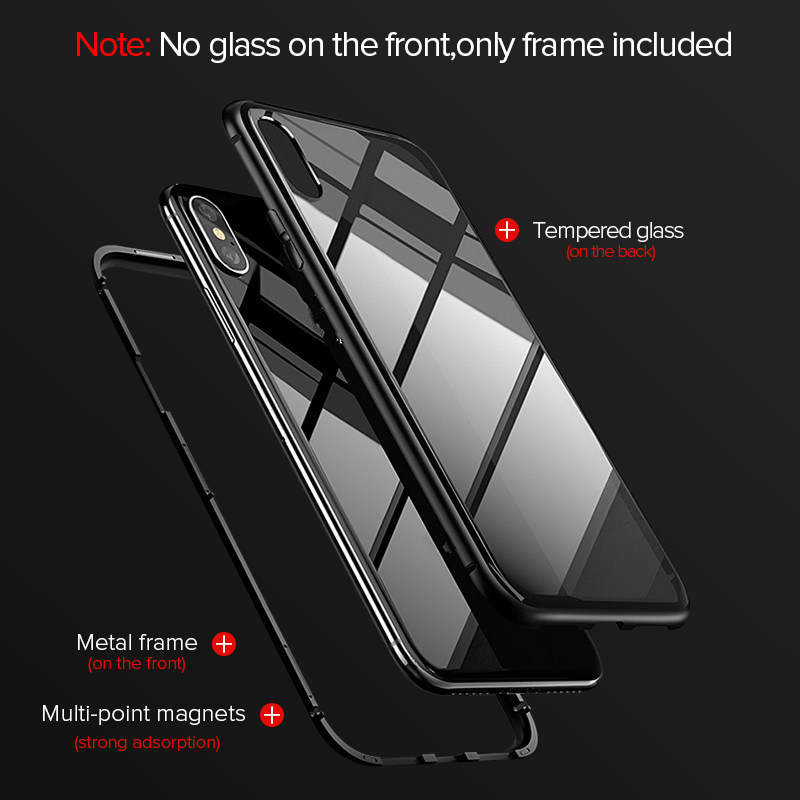 GETIHU Metal Magnetic Case For iPhone 11 Pro Max XR XS MAX X Tempered Glass Magnet