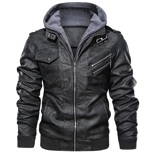 New Mens Outwear Bomber Vintage Autumn Black PU Leather Casual Jacket Slim Fit Motorcycle Biker Coats Removable Hood 2