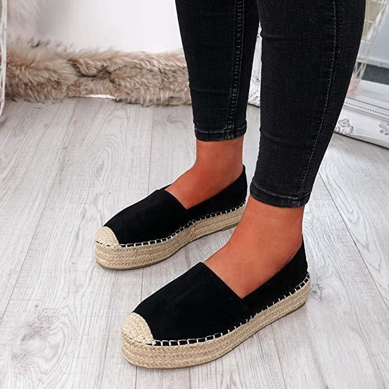 2020 Women's Platform Espadrilles Flock Shoes Slippers Womens Casual Shoes Breathable Flax Hemp Canvas Shoes Drop Shipping