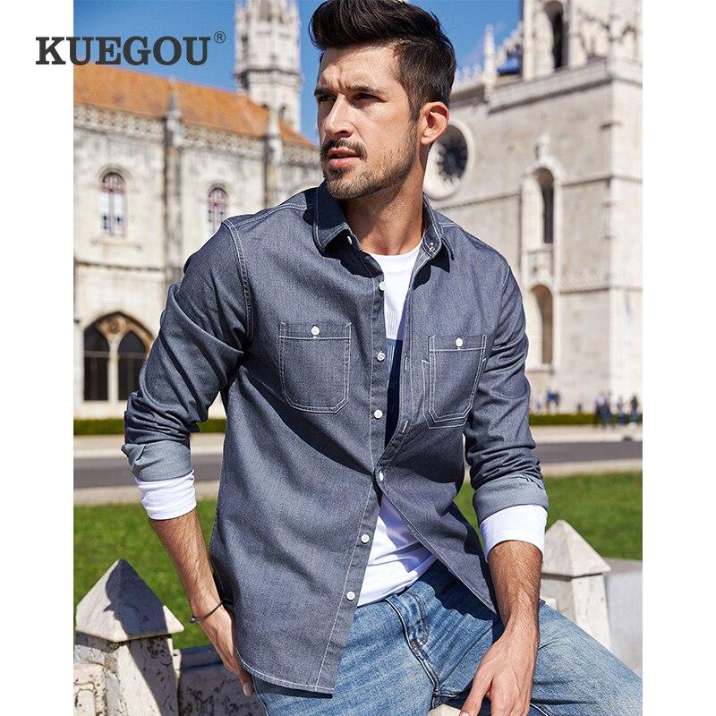 KUEGOU cotton spandex men's long sleeve shirt male breast pocket tide leisure shirt autumn wear sports coat lapels top BC-6957