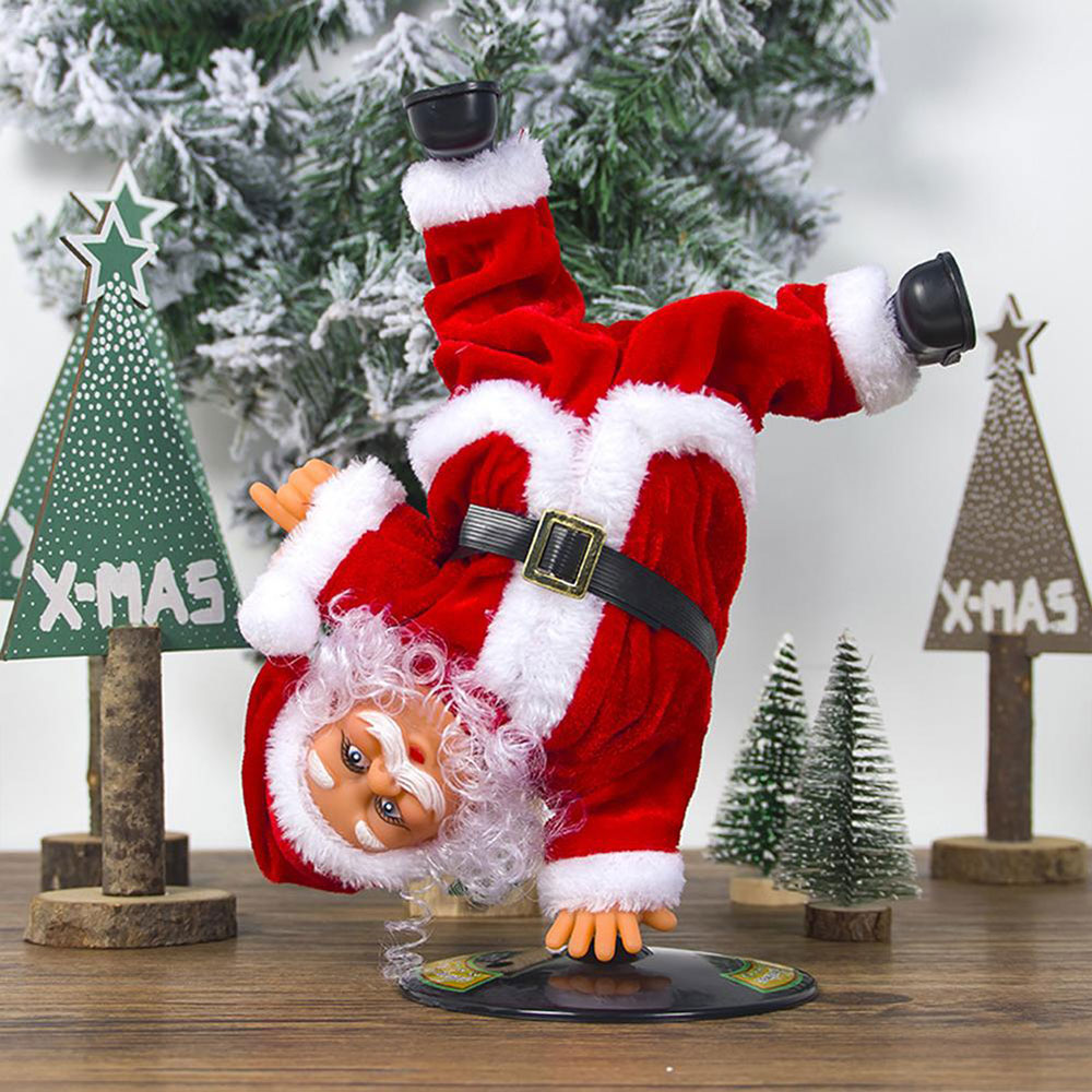 Christmas Decorations Electric Santa Claus Doll Can Handstand Street Dancing With Music Swing Ornaments Electric Plush Kids Toys