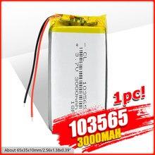 1/2/4 pièces 103565 3.7 V lithium polymère batterie 3000 mah bricolage puissance mobile charge trésor batterie pour DVD GPS PSP caméra E-book