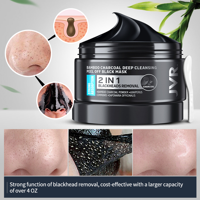 Blackhead Remover Mask Skin Care Bamboo Charcoal Against Black Dots Cleansing Peel Off Face Mask Pore Strip Acne Treatment 120g 2