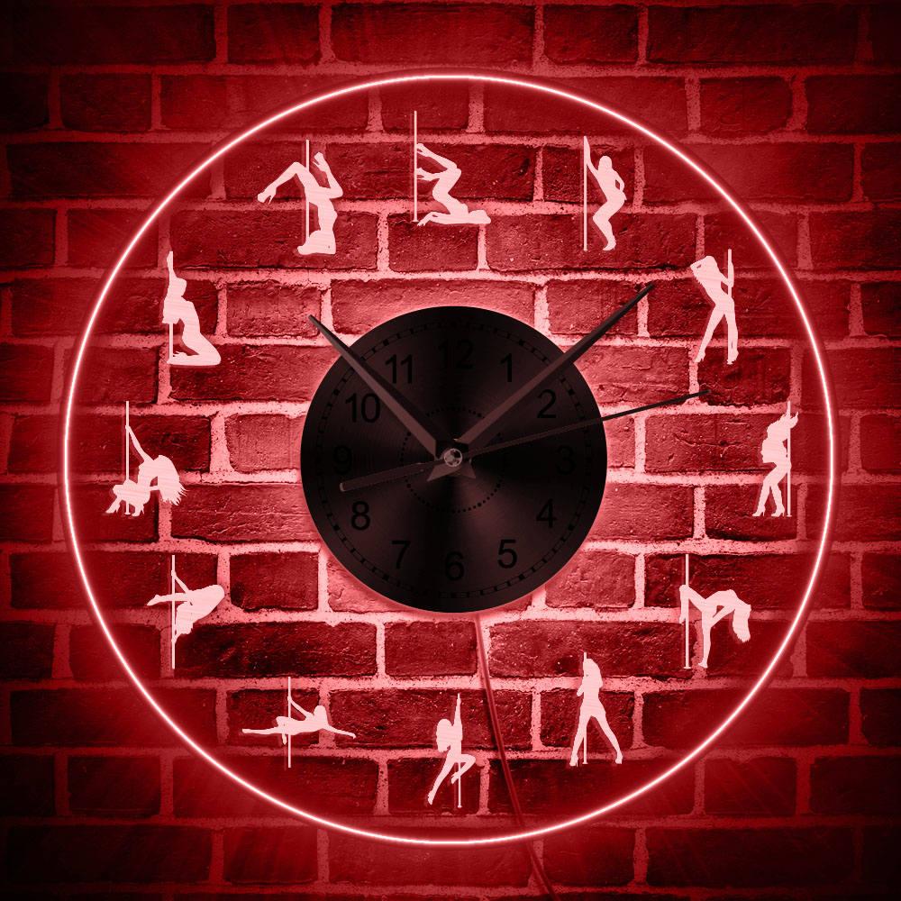 Sexy Pole Dancer Luminous Wall Clock Pole Dancing LED Neon Sign Clock Dancer Gift Steal Tube Dance Studio Wall Art Decor Light
