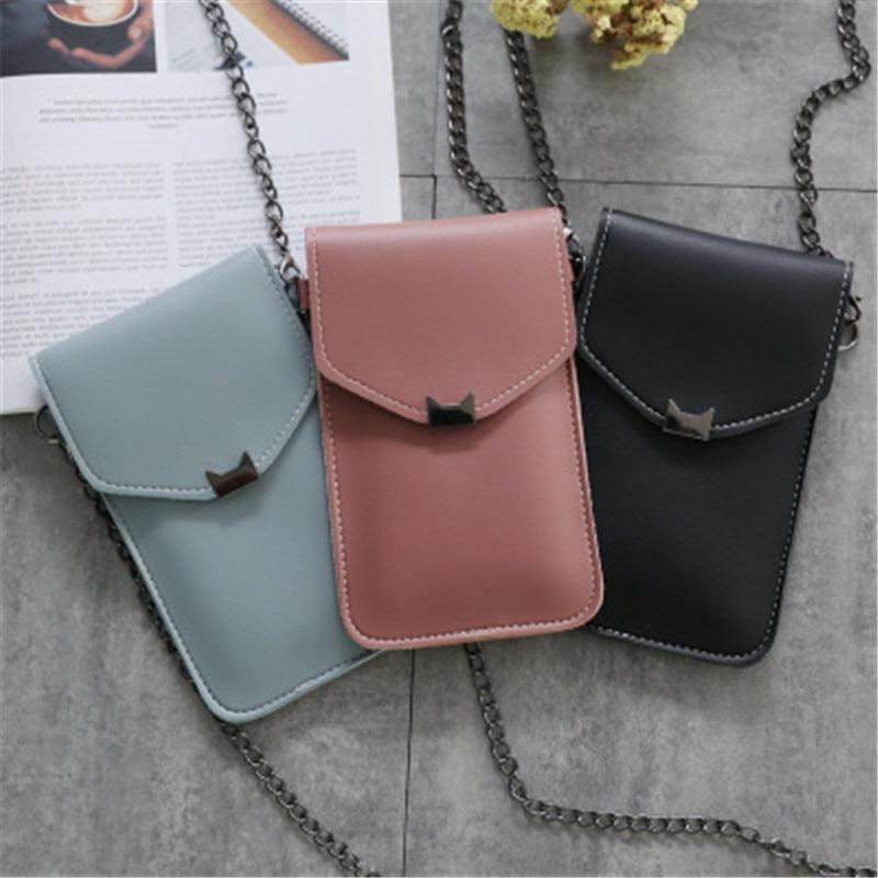 Women Bag Fashion Crossbody Bag Cat Ear Decoration Transparent Touch Screen Mobile Phone Bag Ladies Metal Chain Shoulder Bag Sac