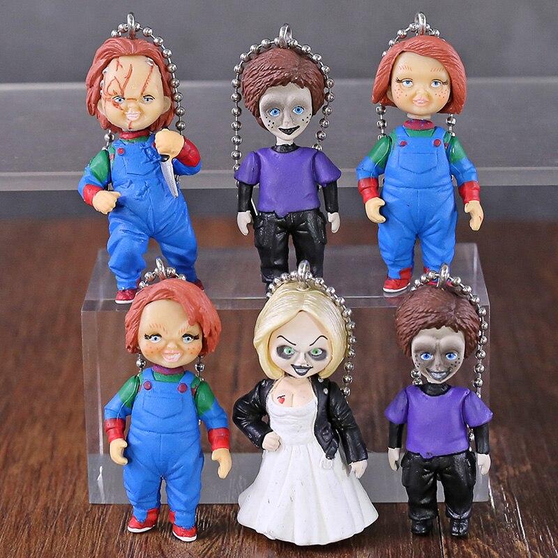 6pcs/set NECA Figure Horror Movie Child's Play Chucky Bride of Chucky & Son Doll Keyring Keychain Pendant Figure Model Gifts Toy