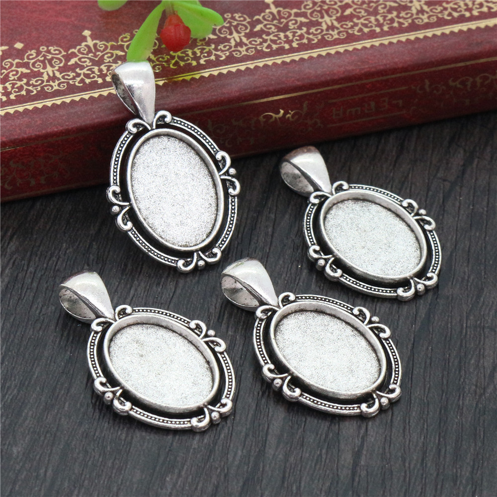 6pcs 13x18mm Inner Size Antique Silver Plated Flower Classic Cameo Cabochon Base Setting Pendant Necklace Findings  (D4-42)