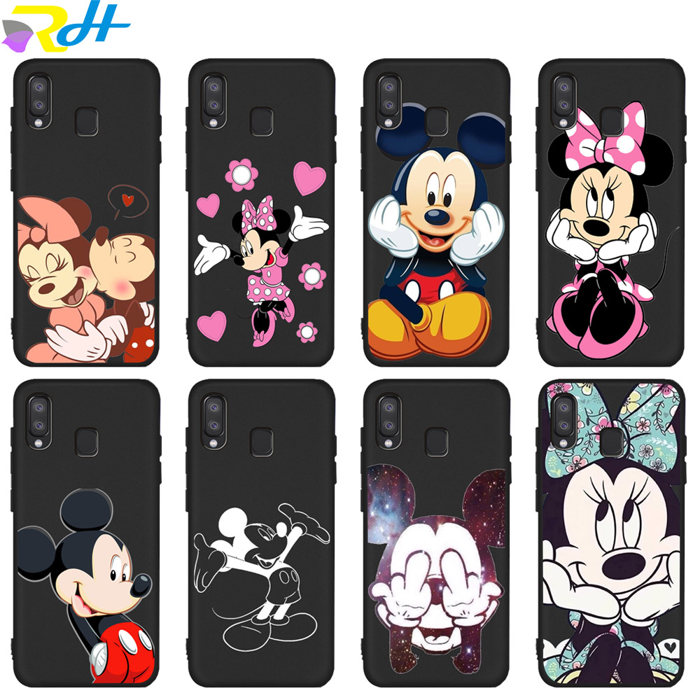 Soft Black silicone TPU Cover for <font><b>Samsung</b></font> Galaxy S8 S9 S10 Plus Coque Etui Mickey Minnie for <font><b>Samsung</b></font> S6 <font><b>S7</b></font> Edge S10 Lite <font><b>Case</b></font> image