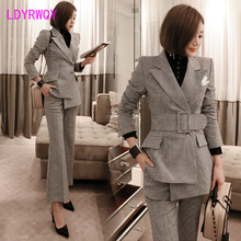 2019 autumn new fashion Slim houndstooth professional pants + suit jacket suit female
