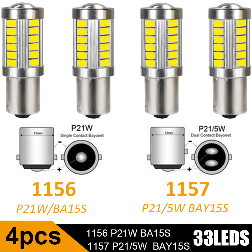 4pcs 1156 1157 BA15S <font><b>P21W</b></font> 5630 5730 <font><b>LED</b></font> Car Tail <font><b>Bulb</b></font> Brake Lights 12V DC Auto Reverse Lamp Daytime Running Signal Light image