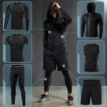 Mens Running Sports Suit Gym Fitness Compression Clothing Jogging Sport Sets Exercise Workout Tight Tracksuit Dry Fit MMA Black