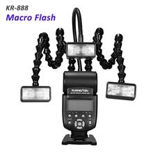 KR888 Macro Flash with Triple Light Head LED Macro Flash Speedlite for Canon Nikon Panasonic Olympus Pentax Sony DSLR Camera