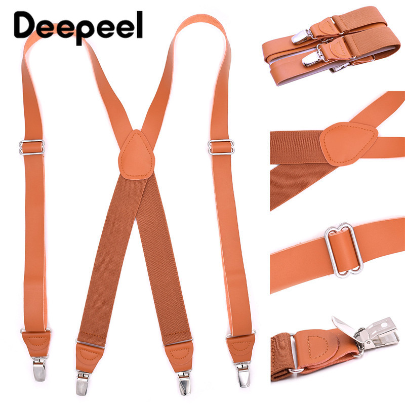 Deepeel 1pc 3.5*125cm Adult Elastic Adjustable Strap 4 Clip X Type Suspenders Unisex Brown  Designer Suit Decoration SP062