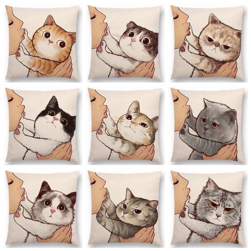 Engraçado bonito gato travesseiro casos amor beijo buceta capa de almofada decoração para casa dos desenhos animados linho fronha para o sofá do carro do bebê capas