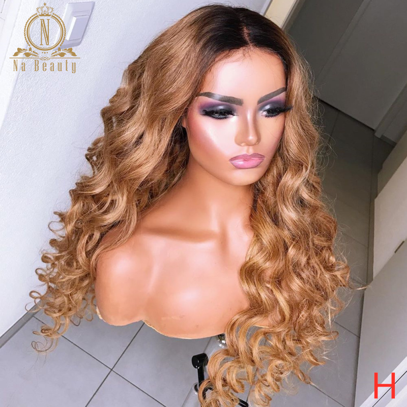 180 Density Honey Blonde Lace Front Wigs Curly Ombre Colored Human Hair Wigs For Women Black 13x6 Lace Frontal Wig Remy Nabeauty