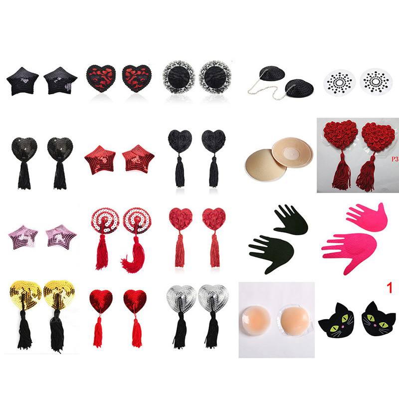 1 Or 2 Pair Women Sexy Sequin Nipple Covers With Tassels Heart Shape Nipple Stickers Pasties Sex Product Chest Stickers