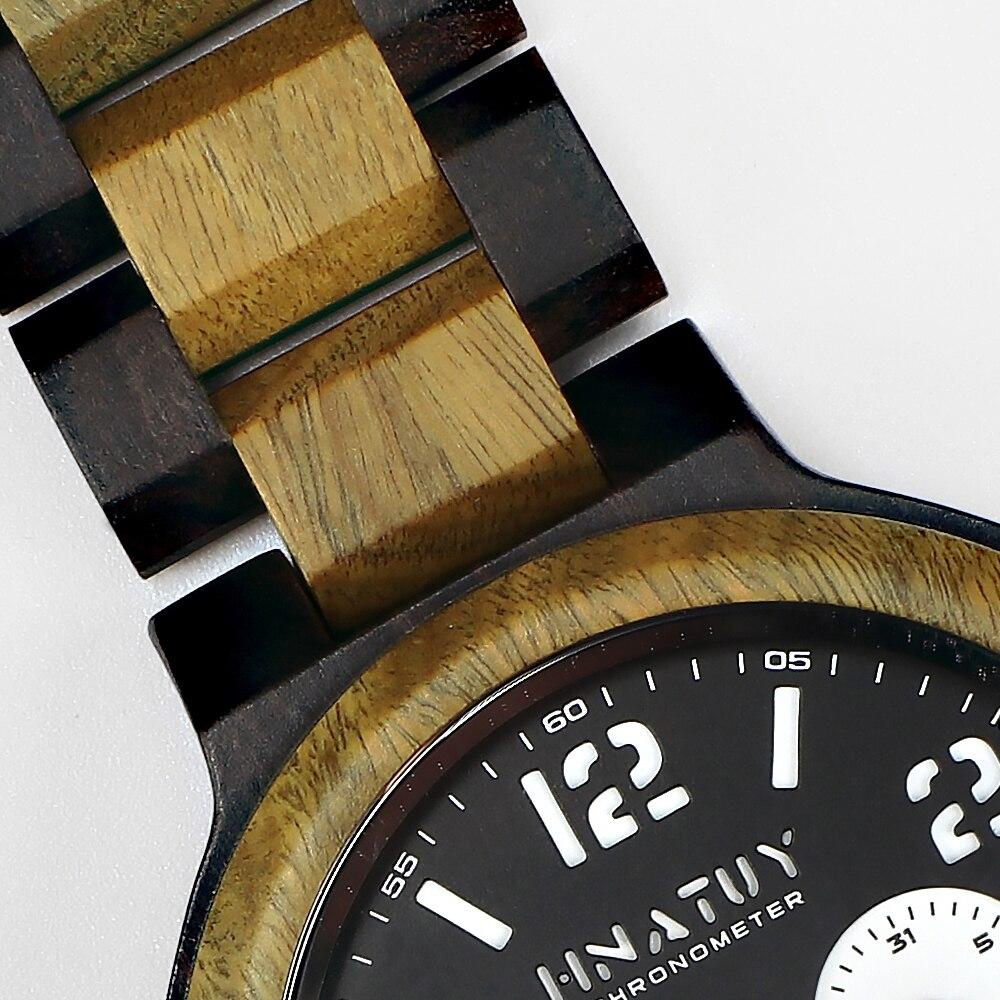 H4ba0cd3056014b9f8d1517cec7fccce2J Hnatuy Wood Men's Watches Luminous Hands Business Watch