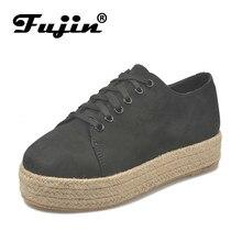 Fujin Women Flats Causal Shoe Dropshipping Fall Winter New Hemp Rope Leopard Big Size 35-43 Flat Platform Shoes Chaussures Femme